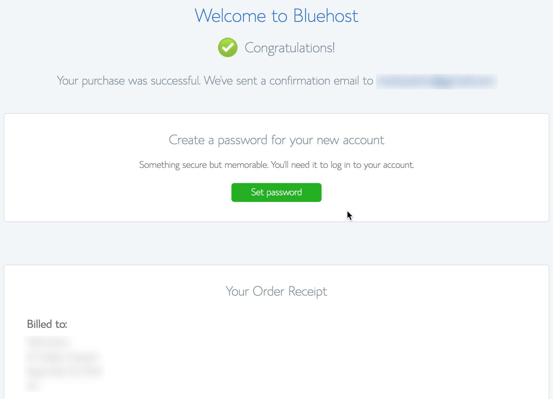 Bluehost will request that you set your login password once purchase is successful.