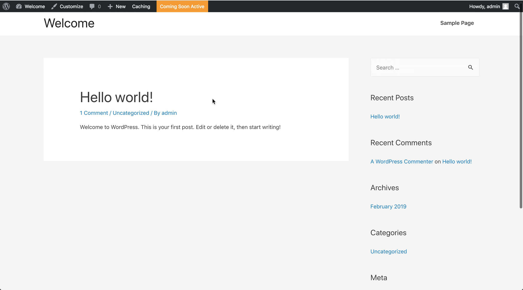 The default look and feel that comes with initial WordPress install. Not quite visually appealing right!