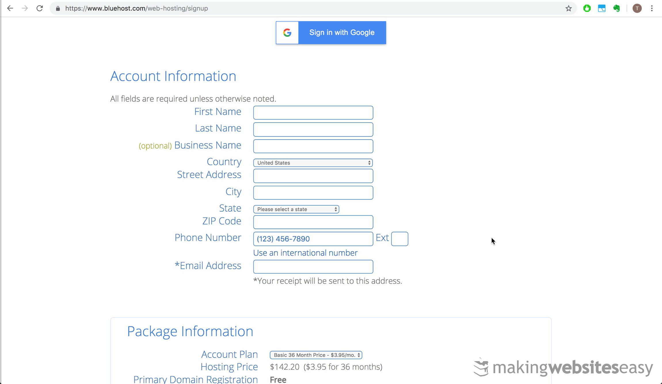 Fill out your new account information.